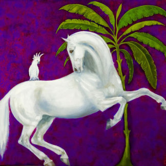 White horse, cockatoo, tree with purple background, mixed media