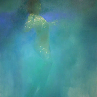 Female nude, arms outstretched, under water