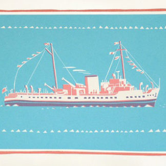 Steam liner on the water, silk screen.