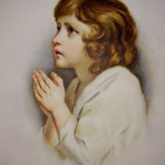 Girl kneeling and praying, watercolour