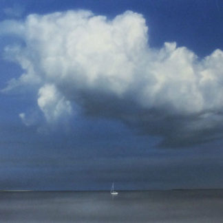 Yacht in the distance under gathering storm cloud, acrylic.