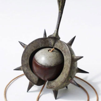 Conker in shell with string attached, bronze.