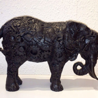 Bronze resin elephant, skin is a representation of clock parts
