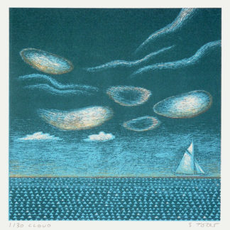 High clouds, sea, yacht, silk screen.