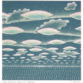 Layers of clouds, perspective, sea, silk screen.