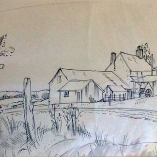Farm building view with empty cart, pen and ink