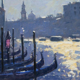 Venice skyline, gondolas, dawn, oil.
