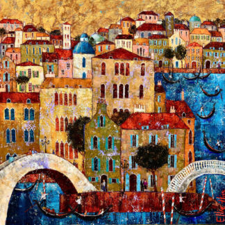 Townscape and gondoliers, oil