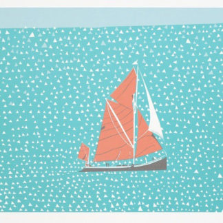 Boat, in sail, silk screen.