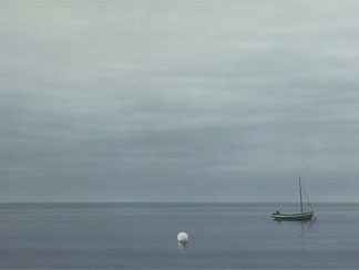 Flat calm, dawn, small boats, acrylic.