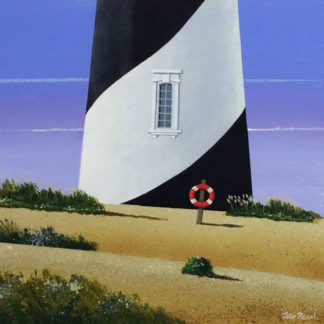Base of black and white lighthouse and lifebuoy, acrylic.