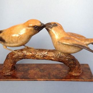 Sculpture of hawfinch and juvenile, bronze