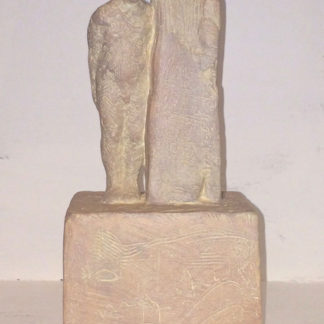 Standing male figure, resting against, jesmonite and earth pigments