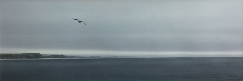 Sea and coastline, lone seagull flying, acrylic.