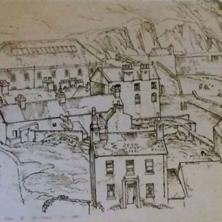 View from high location, laxey harbour and cliffs, pen and ink