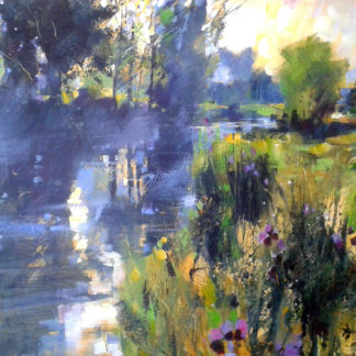Spring, summer scene river and trees, acrylic