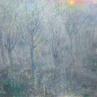 Mist, trees, winter sun, acrylic, oil, oil glazes, oil pastel