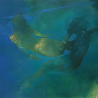 Two female nudes, swimming under water, catching the light