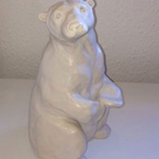 Polar bear sitting up and looking, onyx resin