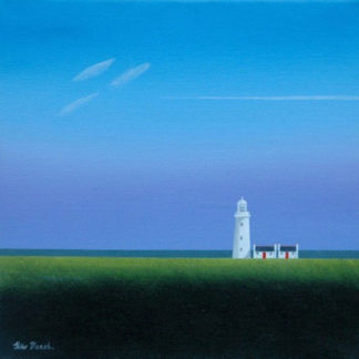 White lighthouse, green fields, sea & big sky with vapour trail, acrylic.