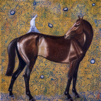 Horse, white peacock and clocks, mixed media