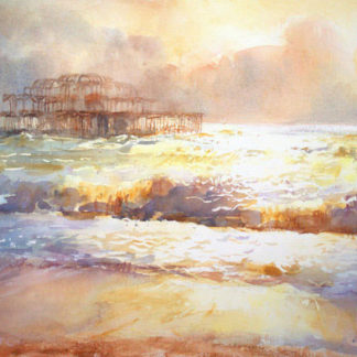 Ruined pier, sunlight, waves, watercolour