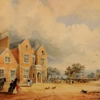 Outside view with people, horse and carriage, watercolour
