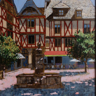 Old picturesque buildings, square, brittany, shady, acrylic.
