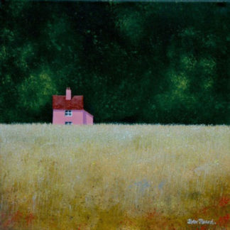 Golden field, small suffolk-pink cottage, green trees, acrylic.