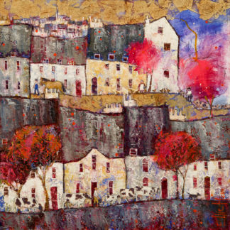 Townscape, red trees, horses, pigs, cows and chickens, gold leaf, oil