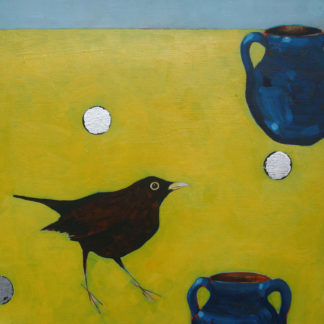 Blackbird, sixpence and blue jug against yellow and blue background, acrylic