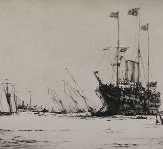 Port, royal yacht victoria moored offshore, etching