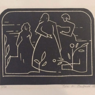Outline of three figures, woodcut