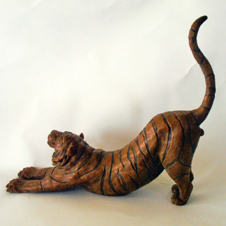 Tiger, stretching with tail in the air, bronze resin
