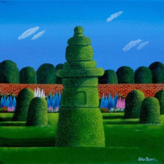 Walled garden, topiary and topiary trees beyond, acrylic.