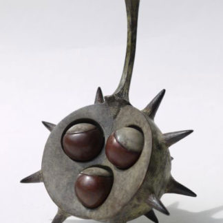 Three conkers in shell, bronze.