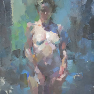 Female nude, standing, oil on canvas