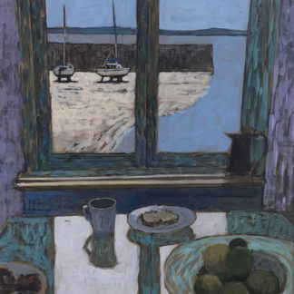 View of small harbour through closed window, table with bowl of fruit, acrylic.