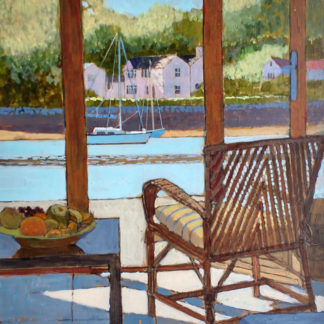 View through window, chair, bowl of fruit, harbour and 2 yachts, acrylic.