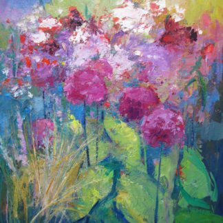 Flowers, pinks & green leaves, oil.