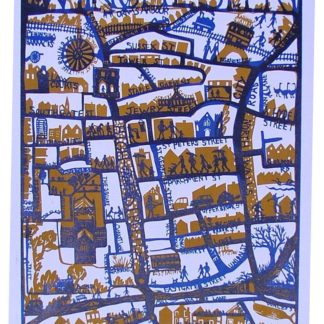Hand-made map, winchester centre, silk screen.