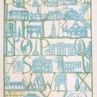 Alphabet over winchester landmarks, silk screen.