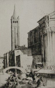 Venice scene, etching.