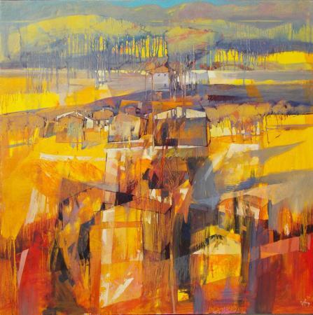 Semi-abstract oil of golden wheat