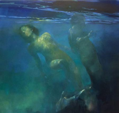 2 nudes, swimming underwater
