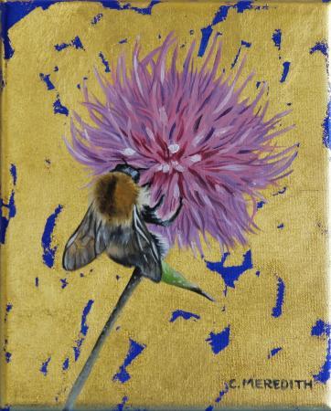Tree Bumblebee on Thistle 15cm x 12cm