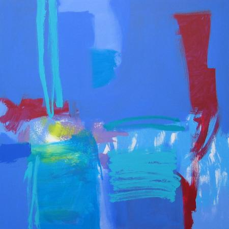 Abstract, predominantly blues