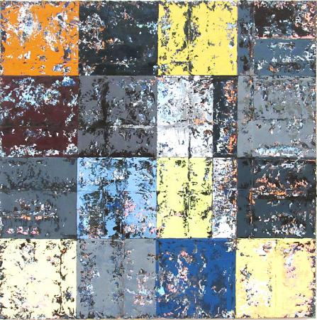 Abstract coloured and textured squares across the canvas