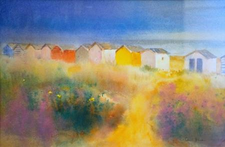 Beach huts and grassy dunes, watercolour