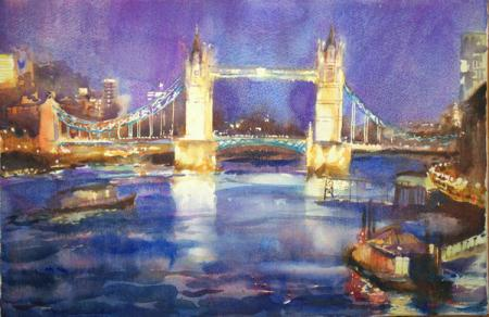 Tower Bridge and view of the Thames at night, watercolour